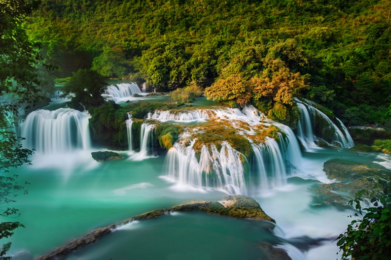 Ban Gioc waterfall in autumn